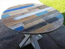 The second table uses four 2x4s on each corner, and a lovely coat of teal blue paint. Pallet Round Top Coffee Table With Pedestal Base 30 Easy Diy Pallet Ideas For Your Next Pro Wooden Pallet Furniture Wood Pallet Projects Wooden Pallet Crafts