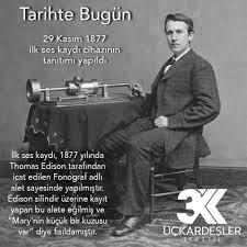 Tarihte Bugün... İlk ses kaydı, 1877 yılında Thomas Edison tarafından icat  edilen Fonograf adlı alet sayesinde yapılmıştır. Edison bundan 141…