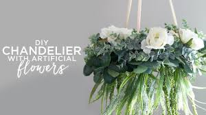 diy chandelier with artificial flowers