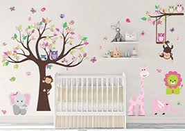 wall decals stickers pink jungle animal