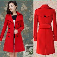 hot 2016 fashion new women s las celebrity red blue slim warm winter coat wool woolen jacket outwear long trench coats pea coats belt fre coat
