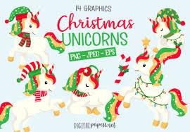 Cute Christmas Unicorns Graphic By Digitalpapers Creative Fabrica