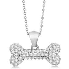 pave diamond dog bone pendant necklace 14k white gold 0 80ct