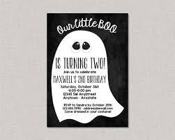 Halloween Birthday Invitation Ghost Second Birthday