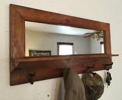 Coat Rack With Mirror And Shelf Barn wood coat rack mirror shelf handmade by Barnwoodcustom new 3