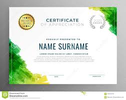 Certificate Of Honor Template Abstract Green Certificate Of Appreciation Template Stock