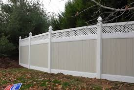 two tone tongue and groove with square lattice gothic post caps two tone vinyl privacy fence w48 privacy
