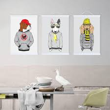 2018 modern hippie hipster living kids room wall art original fashion animal man dogs a4 a3 large poster prints canvas painting gifts from shengzhenming