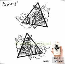 Baofuli эскиз розы треугольники цветок татуировки геометрический