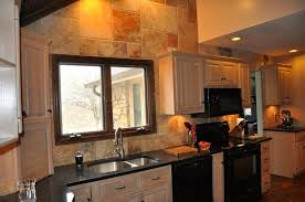 l shape rectangle countertops red painting wall decorate kitchen counters ceramic tile wall backsplash including bar