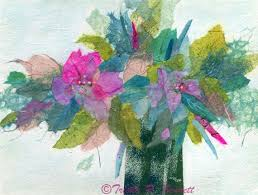 Tissue Paper Flower Wall Art Abstract Floral Poster Tissue Collage Floral Wall Decor Etsy