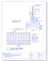 picket fence drawing. CAD Drawings CADdetails.com Metal Picket Fence: Closed On Masonry Wall Fence Drawing