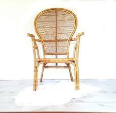 bamboo arm chair vintage bentwood bamboo rattan high back fan indoor wicker accent chairs boho