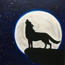 wolf howling painting. Beautiful Painting Wolf Howling At The Moon Painting Silhouette Stars On E
