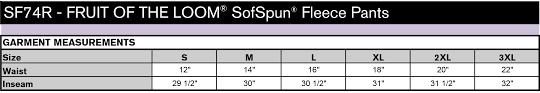 Fruit Of The Loom Sf74r Sofspun Fleece Pants Custom