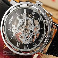 mens casual mechanical wrist watch transparent skeleton silver mens casual mechanical wrist watch transparent skeleton silver dial black leather band watch pmw001