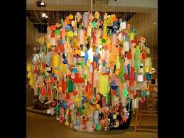 recycled chandeliers made from waste