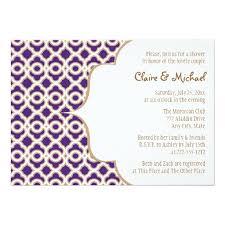 Couple Wedding Shower Invitations Purple And Gold Moroccan Couples Wedding Shower Invitation Card