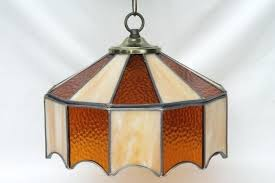 vintage leaded glass shade light fixture amber stained glass stained glass hanging light vintage stained glass