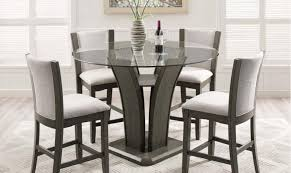 crown mark 1710gy 5p camelia grey round glass top counter height table set 5 pcs