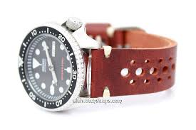 leather racing watch strap for seiko watches