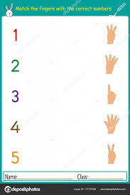 match the fingers with the correct numbers, math worksheet for ...
