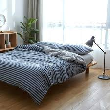 cotton knitted fabric grey navy blue striped bedding set twin full queen king size duvet red blue striped bedding