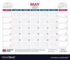 Calendar May 2020 May 2020 Calendar Planner Stationery Design