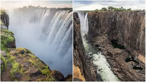 Shungu namutitima, boiling water) is a waterfall on the zambezi river in southern africa. Victoria Falls Dries Drastically After Worst Drought In A Century Ecowatch