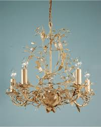 adele cream gold leaf 5 light crystal chandelier