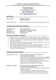 Pharmacy School Resume Pharmacy School Resumes Enomwarbco Pharmacy Resume Examples Best 1