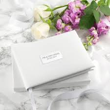 personalised white leather wedding guest book