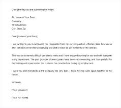 One Weeks Notice Letter Two Week Notice Letter Example Two Weeks Notice Letter Free Word