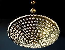Lobmeyer Gilded Crystal Glass Chandelier Pendant Lamp