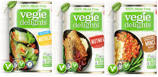 A Guide to Vegan - Vegie Delights canned vegan meats! The range includes: -  Nutolene - Nutmeat - Casserole Mince in Gravy The entire range is now vegan.  Some stores might be