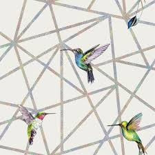 grey holographic hummingbirds double roll wallpaper