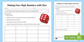 How To Create A Place Value Chart Making Four Digit Numbers With Dice Open Ended Place Value