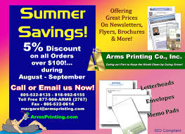 Discount Flyer Printing Printing Discount Summer Savings Specials From Arms Printers The
