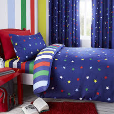 blue multi coloured stars reversible stripes duvet cover