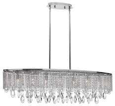 intermezzo halogen island pendant with a modern clear crystal strand s shade