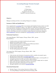 Fresh Accounting Manager Resume Mailing Format