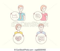 Pay World Money And Line Chart Icons Money Transfer Sign Beggar Global Markets Financial Graph Vector