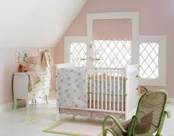 Bedroom:Cute Baby Room With Peach Wall Paint And Single White Crib With  Cute Bedding