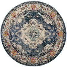 safavieh monaco mahal navy light blue round indoor distressed area rug common 7