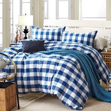 beautiful plaid duvet cover set for single or double bed 100 cotton intended blue comforter plans 8
