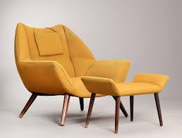 kurt Østervig easy chair armchair with ottoman upholstered in mustard yellow wool