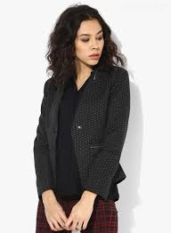 big womens winter jackets madame black jtf ob printed fitted blazer