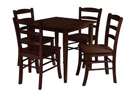 4 chair kitchen table: long wooden chairs with its square table