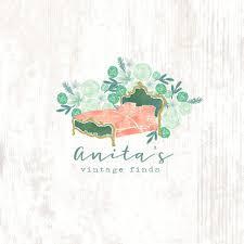 vintage furniture logo. Watercolor Floral Vintage Furniture Antique Shop Pre-made Logo Design I