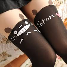 Us 32 15 Offnew Fashion Women Nylon Cute Cat Totoro Knee High Tights Blcak Sexy Tattoo Stockings Girls Sexy Pantyhose Over Knee Stockings In